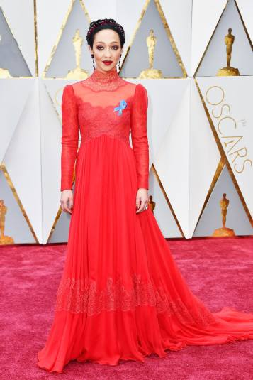 Ruth Negga in a Valentino dress and Irene Neuwirth for Gemfields jewelry