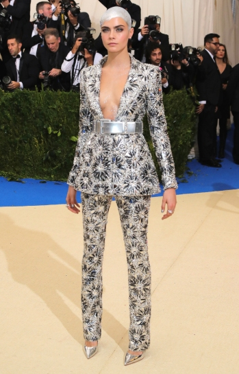 """NEW YORK, NY - MAY 01: Cara Delevingne attends the """"Rei Kawakubo/Comme des Garcons: Art Of The In-Between"""" Costume Institute Gala at Metropolitan Museum of Art on May 1, 2017 in New York City. (Photo by Neilson Barnard/Getty Images)"""