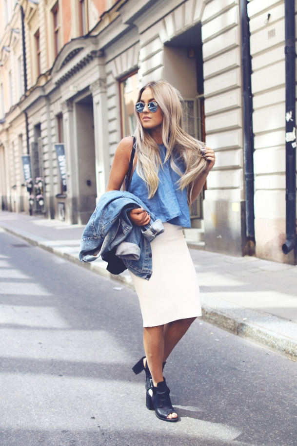 white-skirt-and-denim-jacket-casual-summer-outfit-bmodish